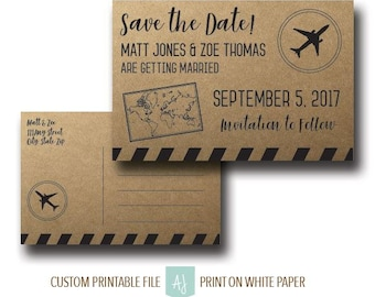 Rustic, Travel Themed Wedding Save the Date-Unique Travel Invite for Destination Wedding- Customization Included