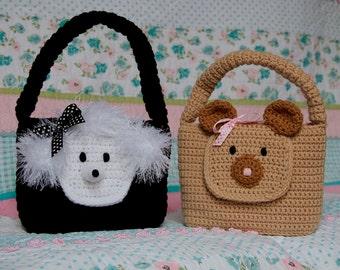Girl Purse PDF CROCHET PATTERN Easy Animal Bear and Poodle Purse