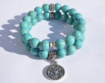 Tree of Life Bracelet Set, Boho Bracelets, Stretch Bracelets, Howlite Bracelets, Turquoise Bracelets, Bohemian Bracelets, Healing Bracelets