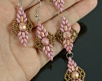LEAFY Beading tutorial Beading pattern Beaded bracelet pattern Beadweaving Beaded earrings pattern SuperDuo Rulla seed beads - Tutorial Only