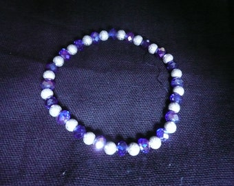 Royal Blue Crystal and Sterling Silver Bracelet on elastic