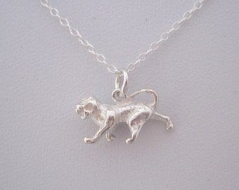 TIGER FELINE ANIMAL small sterling silver charm with chain