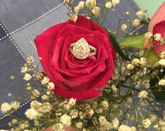 Double Halo Pear Pink Diamond Engagement Ring Rose and White Gold