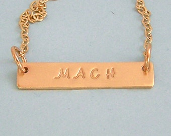 14K Gold Filled MACH Necklace - Dog Agility Necklace - Hand Stamped Bar Necklace - Dog Agility Gift - Title Necklace - Brag Gift