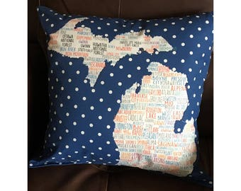 Michigan Cities Pillow in Blue
