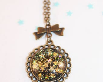 Necklace cabochon glitter Christmas stars