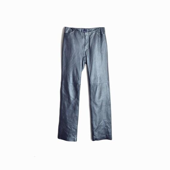 Vintage 90s GAP Blue Leather Pants / Ice Blue Metallic Leather Pants - Women's Size 2 / XS