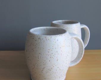 Pottery mugs, handmade set white pottery coffee cup, pottery gift, speckled white mug set, farmhouse white mugs, ceramic mug gift