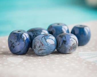 Dark blue beads_set of 6_nerikomi porcelain_artisan ceramics_grey gray black_marble pattern_barrel shaped_18 mm 0.71''_multipurpose DIY kit
