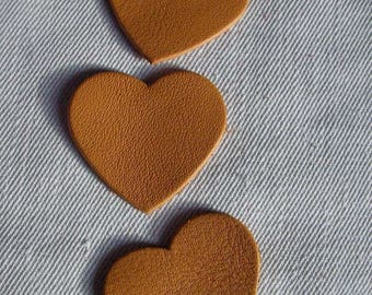 set of 3 hearts camel leather
