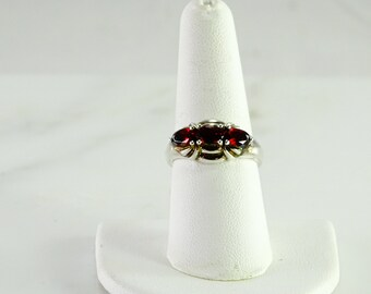 Sterling Red Stone Ring Size 8