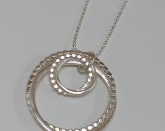 Infinity Necklace, Interlocking Circles, Sterling Silver, Handmade, Artisan