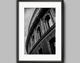 Black and white landscape photograph of the Royal Albert Hall, London / Giclee Print / wall art / home decor / Photography