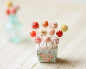 Dollhouse Miniature Food - Sweet Cake Pops in 1/12 Scale