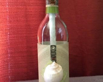 Handcrafted Tiki Torch Wine Bottle (Sage Sea)