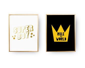 Set Of 2 Prints, Super Boy Print, Rule The World, Teen Boy Bedroom, Kids Print, Home Decor, Gold Foil Print, Nursery Decor, Teenage Art