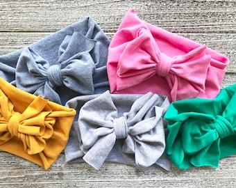 Bow Turban Headbands - Baby Head Wrap Headband - Soft Knit Jersey - Stretch Hairband - Baby Girl Gift - Boho Baby Boho Style - Tribal Style