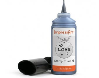 Enamel stamp ink, Stamping ink, stamp black, enamel bottle, jewelry enamel paint, Impressart enamel paint, Black enamel, bottle black enamel