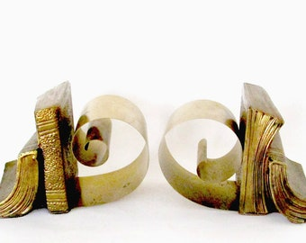 Brass Bookends, Mid Century, Old Books Bookends, Expandable, Old World Decor