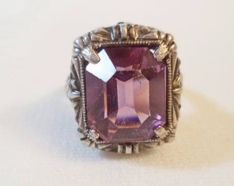 Sterling Art Deco Purple Glass Amethyst Ring Filigree Singed Sterling Size 5