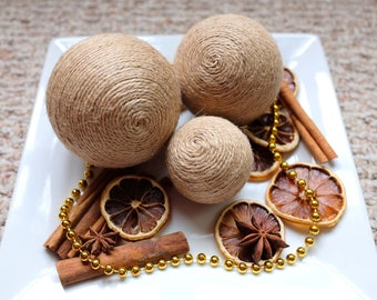 Jute Decorative Balls | Jute Ball | Decorative Ball | Bowl Fillers | Table Decor | Rustic Decor | Twine Ball | Jute-Wrapped Balls