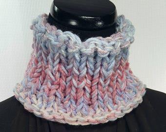 Blue White Pink Knit Neck Warmer Scarf