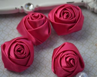 """1.5"""" Hot Pink Satin Fabric Roses, Satin Rolled Rosettes, Satin Flowers, Rolled Roses, Rolled Satin Roses, Satin Flowers, Satin Roses"""