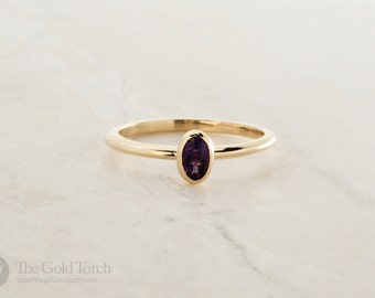 Birthstone Ring, Oval Amethyst Gold or Platinum 1.6mm Stackable Ring (Choice of Stones)