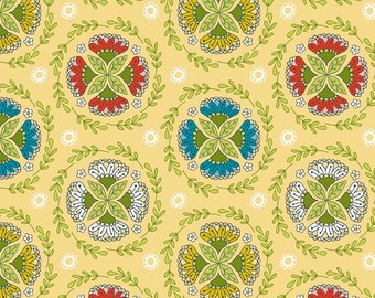 By The HALF YARD - Dutch Treat by Betz White for Riley Blake, #C5282 Dutch Wreath Yellow, Green Yellow, Red Pink and Blue Blossom Medallions