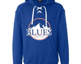 Hoodie Sweatshirt - St. Louis Blues Hockey Busch Beer Mountains Inspired Long Sleeve Lace Up Hooded Sweatshirt Royal Blue / Saint Louis