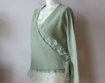 Mint green cardigan sweater, lambswool angora cardigan with lace adornment, spring summer sweater, boho criss cross cardigan, READY TO SHIP