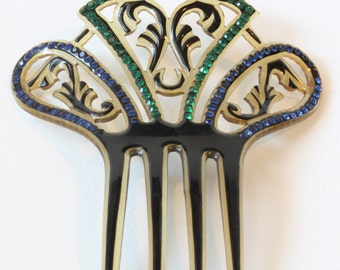 Art Deco Faux Tortoise Celluloid Spanish Style Asymmetrical Fan Shape Hair Comb, 1920s Vintage
