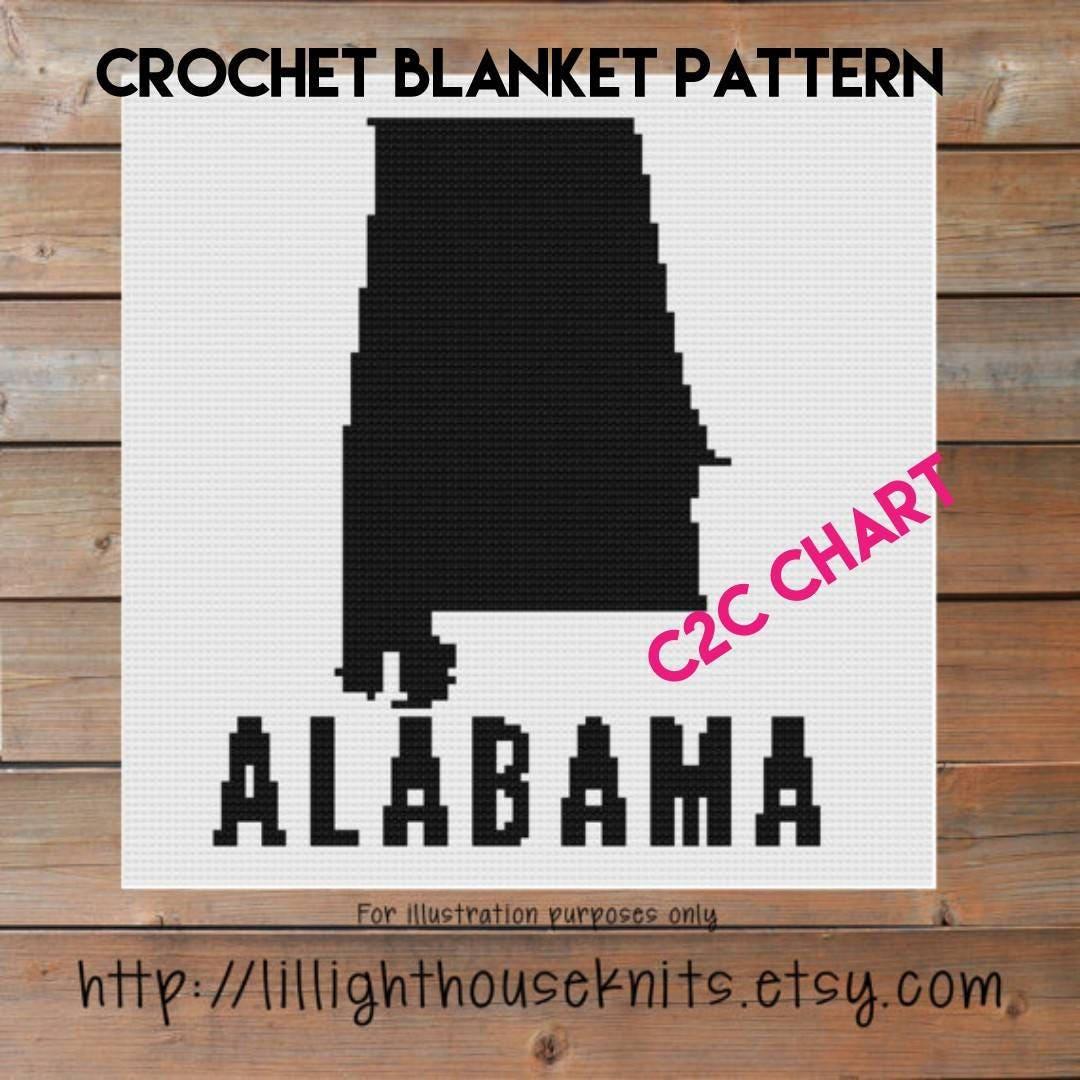 Alabama State Crochet Chart - Graph Crochet Pattern - Cross Stitch ...