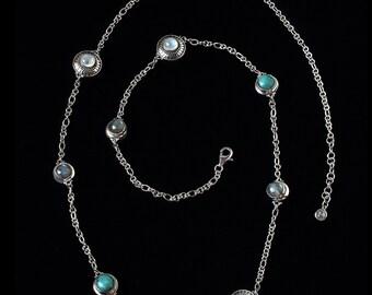 Moonstone Gemstone Station Necklace, Sterling Silver Celestial Station Necklace, Silver Sun Moon Station Necklace, Long Necklace: CORRINA