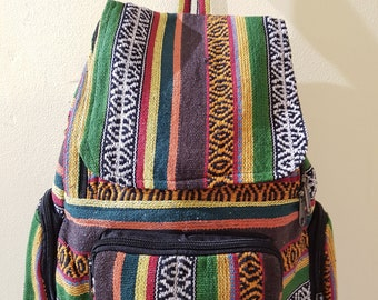 Bright Stripe Multicolour Rucksack, Hippy Boho Festival