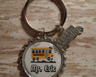 Personalized Bus Driver key chain with charm