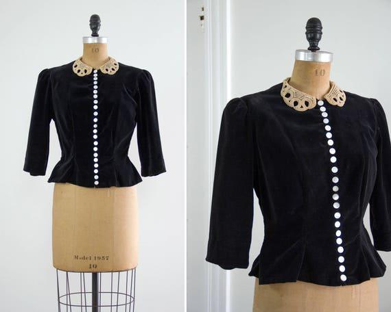 vintage 1930s blouse   30s shirt   1930s velvet top   black velvet peplum jacket