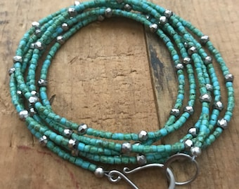 Turquoise Glass and Silver Pyrite Long Beaded Necklace