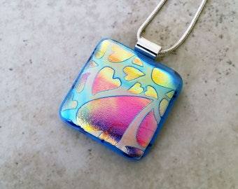 Dichroic Glass Pendant - Floating Hearts - Dichroic Glass Jewelry - Fused Glass Jewelry - 40-14