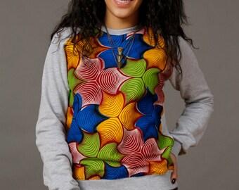 − SoTribal Ankara Sweatshirt africain Wax Print unisexe (Bloom sur Sweat-shirt gris)