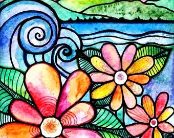 From a Distance beach waves flowers art print  garden painting sunset art print sun