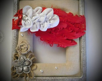 Red and White Ostrich Feather Headband