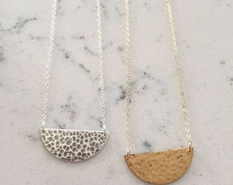 Hammered semicircle necklace gold or silver personalized