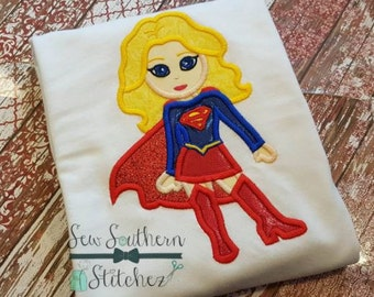 Super Girl Applique Design ~ Comic Book Hero ~ Instant Download