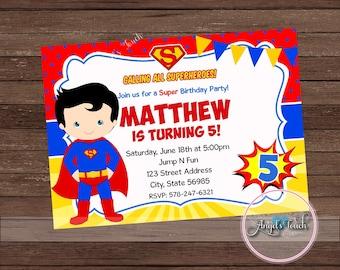 Superman invitation etsy superhero superman party invitation superman invitation superman boy birthday invitation superhero boy invitation superman digital file stopboris Image collections