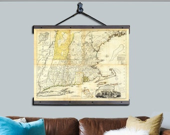 "New England Map. Boston Map. Pull Down Map. Vintage Map 1776, 44""w x 48""h,  School Map, Wall Chart, Hanging Map, Antique Map,"