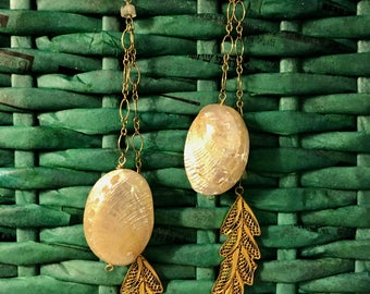 Blonde abalone earrings with filigree feather