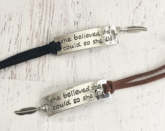 Inspirational Charm Bracelet - Brown or Black Wrap Bracelet - She Believed She Could So She Did Charm Bracelet with Feather - Motivational