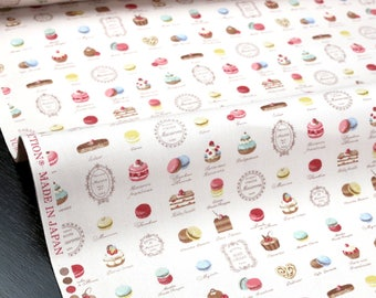 Japanese Fabric Petit Sweets Macaron Yuwa Canvas - Pink - fat quarter