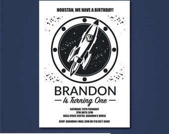 Space invitation, Rocket ship invitation, Space Rocket Birthday-SELF EDITABLE PDF-5 x 7 inch Customisable Printable Invite-Instant Download